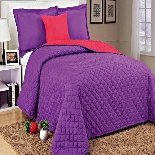 4 Pieces Microfiber Quilt Bedspread Set Queen Size (Purple)