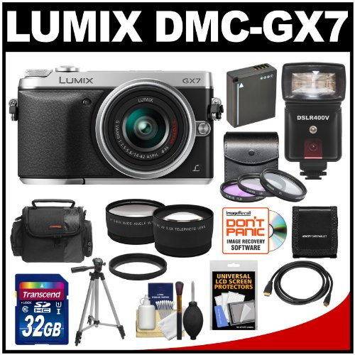Panasonic Lumix DMC-GX7 Micro Four Thirds Digital Camera with 32GB Card + Battery + Case + Tripod + 3 UV/FLD/PL Filters + Flash/Video Light + Tele/Wide Lens Kit