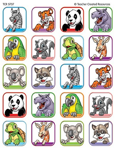 Teacher Created Resources Animal Faces 1 Stickers, Multi Color (5737) - 1
