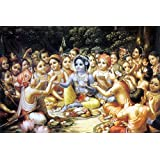 Tallenge - Krishna Enjoys Lunch With The Cowherd Boys - A3 Size Rolled Poster