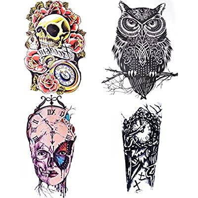 COKOHAPPY Large Temporary Tattoo , One Set of Different Sheet Large Arm Skull Tattoo for Men Women