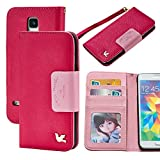 galaxy s5 case,Case for Samsung Galaxy S5,By HiLDA,Wallet Case,PU Leather Case,Credit Card Holder,Flip Cover Skin,Galaxy SV I9600[Rose]