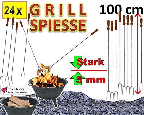 24 x 1 M 100 cm de long à fourche à brochettes barbecue gabelspieß broche grill-couverts barbecue brasero wurstspiesse (attention : non télescopique, mais ferme (solide) de la forme en acier forgé) idéal pour un anniversaire, extérieur-long, outdoor cS-brasero -, raclettes, picnics4fun kit de pique-nique, une fourchette + shashlik, schaschlikspieße, couverts (fourchette, spatule pour barbecue, spatule pour barbecue, etc.