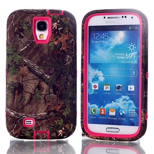 S4 Case - Galaxy s4 Case Camo - MagicSky Plastic TPU Tuff Dual Layer Hybrid Pine Tree Pattern Case Cover for Samsung Galaxy S4 IV i9500 - 1 Pack - Retail Packaging - Hot Pink