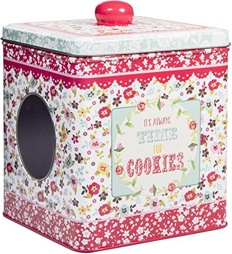 vintage-tin-box-with-windows-disy-floral-print-on-5-storage-container-its-always-time-for-cookies