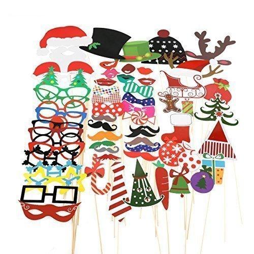 TinkSky 62pcs Natale Photo Booth Puntelli divertente fai da te di favore Compreso renne Cappelli Natale Occhiali Babbo Natale del fiocco di neve di regalo Campana Calza Gingerbread Man on a Stick Ornamenti di Natale
