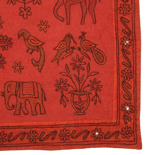 Imagen 3 de Caballo indio Elefante bordado y aves Tapiz Cuadro colgante de pared Throw Fabricado por Cotton Size Tela 35 X 22 pulgadas