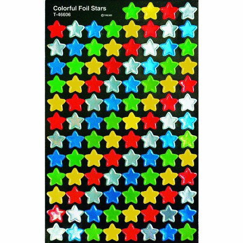 Trend Enterprises Colorful Foil Stars Super Spots & Super Shapes Stickers (T-46606)
