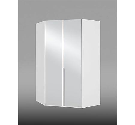 Eckkleiderschrank, Eckschrank, Kleiderschrank, Schlafzimmerschrank, weiß, alpinweiß, Drehturen, Spiegel, Spiegeltur, Beleuchtung, Licht
