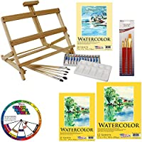 US Art Supply® 31-Piece Watercolor Painting Table Easel Set with, 12-Tubes Watercolor Colors, 3 Assorted Watercolor Paper Pads, 13 Artist Brushes, Plastic Palette with 10 Wells & Now Includes a FREE Color Wheel from US Art Supply