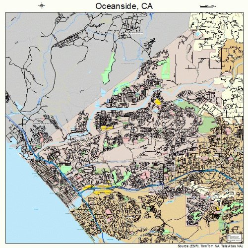 Large Street & Road Map of Oceanside, California CA - Printed poster size wall atlas of your home town (Oceanside Ca compare prices)