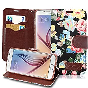 Galaxy S6 Case, Pasonomi [Kickstand Feature] Samsung S6 Wallet Case, Luxury Wallet PU Leather Case Flip Cover Built-in Card Slots & Stand For Samsung Galaxy S6 (Black Flower)