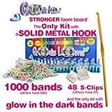 GOODIE LOOMS [version 3.0]- ONLY KIT with a SOLID METAL HOOK - 1000 GLOW in THE DARK BANDS & 48 S-CLIPS - STRONGEST LOOM BOARD AVAILABLE - 100% SATISFACTION GUARANTEE! (version 3.0 released 08/30/14)