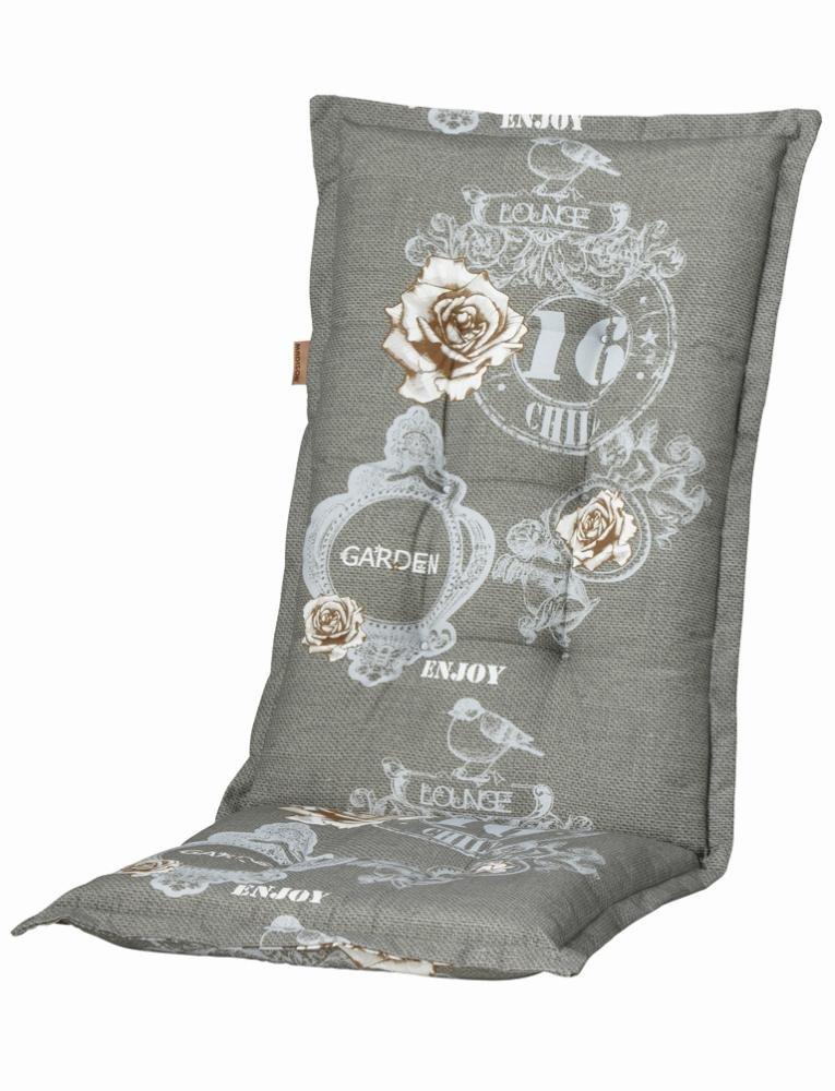 2 Stück MADISON Dessin Duck Sitzpolster für Klapppsessel, Stuhlauflage Hochlehner 75% Baumwolle, 25% Polyester, 123 x 50 x 8 cm, in grau