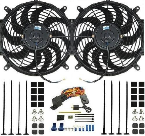 """Procomp Dual 12"""" Inch Electric Fan W/ Derale Thermostat Relay Kit 16738"""