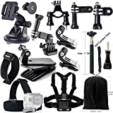 Iextreme 15-in-1 Gopro Essential Accessories Combo Kit for GoPro Hero Session / Hero4 Session / Hero4 / Hero+ LCD / Hero+ / Hero3+ / Hero3 / HD Hero2 / HD Hero, SJCAM SJ4000 / SJ5000 / SJ6000 / SJ7000, Xiaomi Yi
