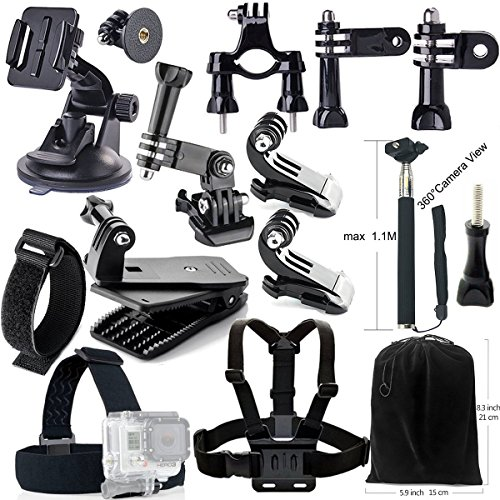 Iextreme Accessory Kit ultimo Combo Kit 15 Accessori per GoPro Eroe 4/3 + / 3/2/1 Camera, Selfie Stick monopiede, coppa Automobile Windshied aspirazione, B modello di testa striscia, 360 gradi di rotazione della clip con vite, manubrio della bicicletta, A fascia toracica modello