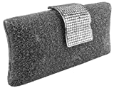 Glamorous Glitter Silver Pewter Hard Case Evening Clutch Baguette Handbag Purse Rhinestone Closure w/Detachable Chain