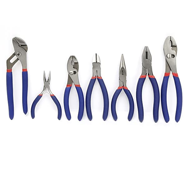 WORKPRO 7-piece Pliers Set (8 Groove Joint Pliers, 6 Long Nose, 6 Slip Joint, 7 Linesman, 8 Slip Joint) (Color: Red, Blue, Tamaño: 7-Piece)