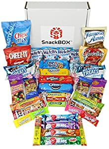 Candies Chips and Cookies Care Package Assortment Variety Pack Bundle Bulk Sampler (45 Count) SnackBOX