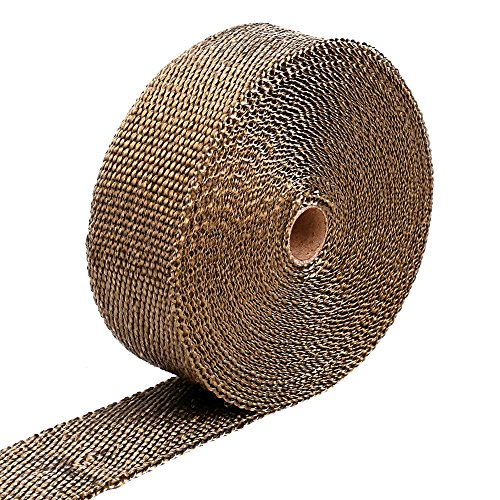 GDTK Titanium Exhaust Heat Wrap Roll for Motorcycle Fiberglass Heat Shield Tape with 8 Stainless Ties (2 Inch 50 Feet) (Motorcycle Exhaust Parts compare prices)