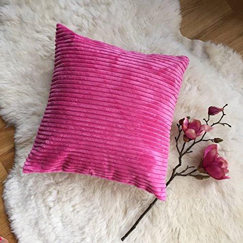 No 37 - Wundeschöne hochwertige Kissenhülle 40x40 VIELE FARBEN Velvet Streifen Kissenbezüge Hülle (pink) - mit Reißverschluss