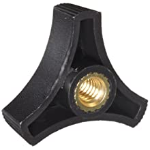 "DimcoGray Black Thermoplastic 3-Prong Knob Female, Brass Insert: 1/4-20"" Thread x 3/8"" Depth, 1-1/2"" Diameter x 5/8"" Height x 1/2"" Hub Dia x 1/8"" Hub Length (Pack of 10)"