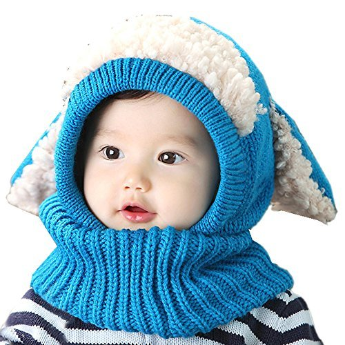 Crazy Genie Unisex-baby Toddler Winter Beanie Warm Hat Hooded Scarf Earflap Knitted Cap Girls Boys (Blue)