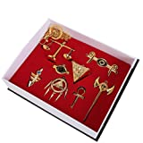 Yu-Gi-Oh ! Muto Yugi Aibo Atum Yugioh Millenium Yuma Tsukumo Pendant Triangle Logo Keychain Necklace 8pcs/set (Gold)