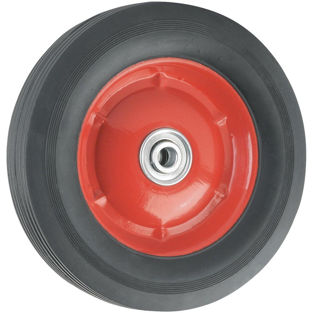 waxman 4383455 8 inch by inch steel hub wheel black rubber tire and red ri ebay. Black Bedroom Furniture Sets. Home Design Ideas