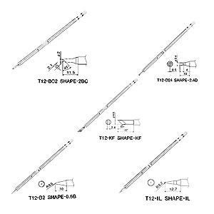 5 Pcs T12 Series Solder Iron Tips For Hakko FX951 BAKON 950D Soldering Station H15 (Tamaño: T12-BC2 + T12-KF + T12-D24 + T12-IL + T12-B2)