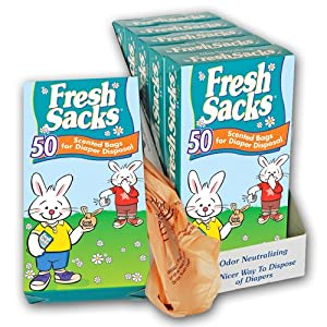 Fresh Sacks Biodegradable Diaper Disposal Bags, 50 ct (6-Pack) by Bryce Foster