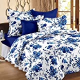 Story@Home 100% Cotton Floral Print Trendy Premium Elegant Double Bedsheets with 2 Pillow Covers, White, Blue