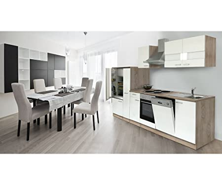 Respekta Kitchen Unit Kitchen Island leer/empty Units 310 cm Sonoma Oak Rough Sawn Front White