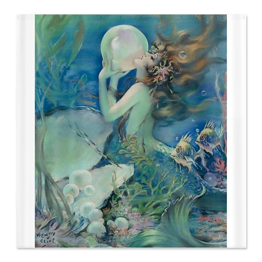 Art Deco Art Nouveau Mermaid With Pearl Pin Up Sho Shower Curtain - Standard White