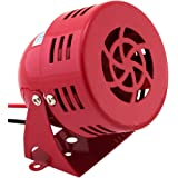 Vixen Horns Loud 110dB Electric Motor Driven Horn/Alarm/Siren (Air Raid) Small/Compact Red 12V VXS-9050C (Color: Red, Tamaño: Vehicle Red (Mini))