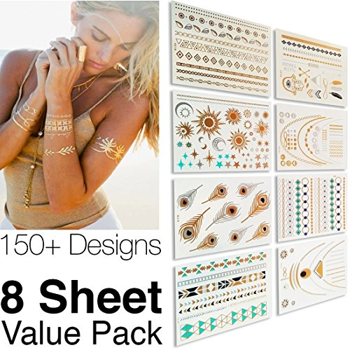 1-Best-Metallic-Temporary-Tattoos--150-Designs-8-Sheet-Pack--Gold-Silver-Temporary-Tattoos--High-Gloss-Shimmer-Effect