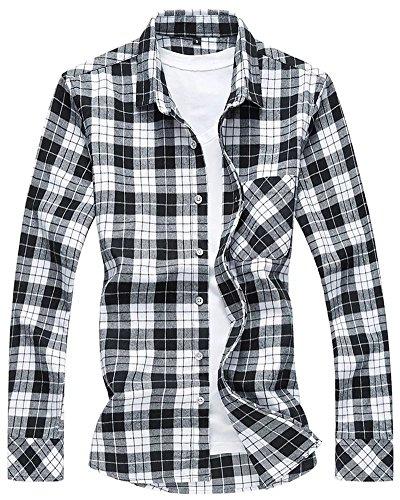 WELITY Men's Long Sleeves Retro Vintage Checker Plaids Dress Shirt 0