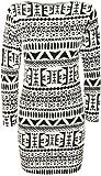 Womens Aztec Print Black White Long Sleeve Bodycon Ladies Short Dress - Sizes 8 - 14