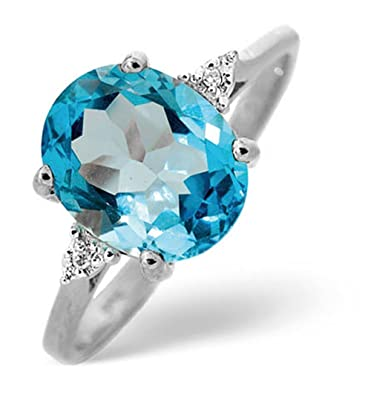 TheDiamondStore | Ring - Oval Blue Topaz 2.60ct & Diamond - 9K White Gold