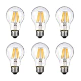 Vintage Edison LED Bulb, Dimmable 6W A19 Antique LED Bulb, 60 Watt Equivalent For Ceiling Fan and Pendant Lighting, E26 Clear Glass Cover, Soft Warm White 2700k, 550LM, Pack of 6 (Color: Warm White)