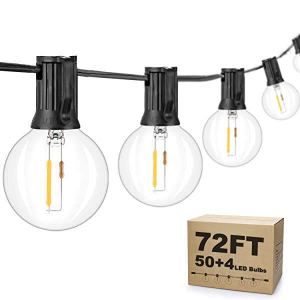 2-Pack 36FT LED G40 String Lights with 50+4 Dimmable Clear Globe Vintage Edison Bulbs, Waterproof Outdoor Indoor Cafe Light for Patio Garden Backyard Bistro Pergola Tents Gazebo Decor, Black Wire 72FT
