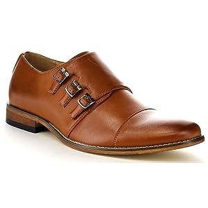 UV SIGNATURE EA27 Men's Chic Cap Toe Monk Strap Dress Shoes Run Half Size Big, Color:LIGHT BROWN, Size:9