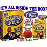 Endless Games Family Feud 5th Edition, Family Feud Strikeout Card Game & Exclusive Electronic Red 3 Mode Game Answer Buzzer and Count Down Timer Deluxe Gift Set Bundle