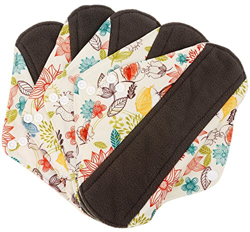 Wegreeco Bamboo Reusable Sanitary Pads - Cloth Sanitary Pads - Pack of 5 (Medium, Camellia Beauty) (Mama Cloth Pads compare prices)