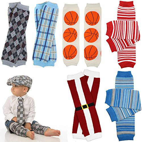 JuDanzy 6 Pack bundle of Boys leg warmers in various designs, stripes and prints