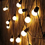 20 LED Connectable Globe Outdoor Festoon Party Lights Black Cable (Warm White)
