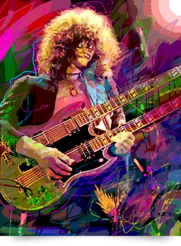 Jimmy Page Double Neck (Giclee Art Print), David Lloyd Glover