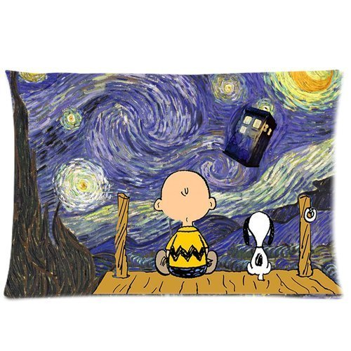 Custom Starry Night Painting Doctor Who Tardis with Funny Snoopy Pattern 10 Pillowcase Cushion Cover Design Standard Size 20X30 Two Sides