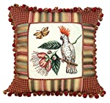123 Creations 100-Percent Wool Cockatoo Petit Point Pillow with Fabric Trimmed, 16 W x 16 H